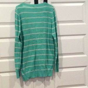 Mossimo Supply Co. Sweaters - Teal and White Striped Lightweight Cardi. Size XL